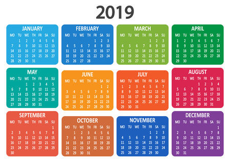 Colorful calendar 2019. Week starts from Monday. Vector illustration
