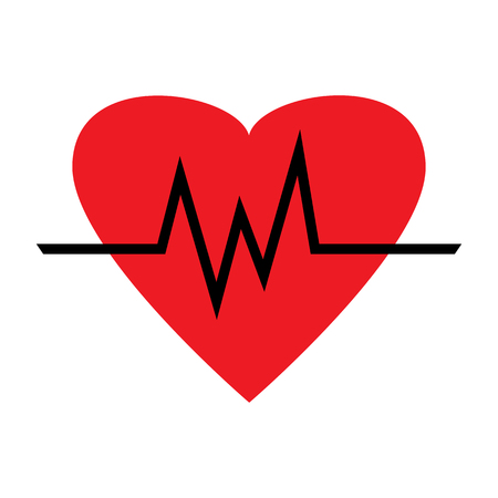 Set of heartbeat icons. Red heart with different beat pulse. Medical symbol. Vector illustration