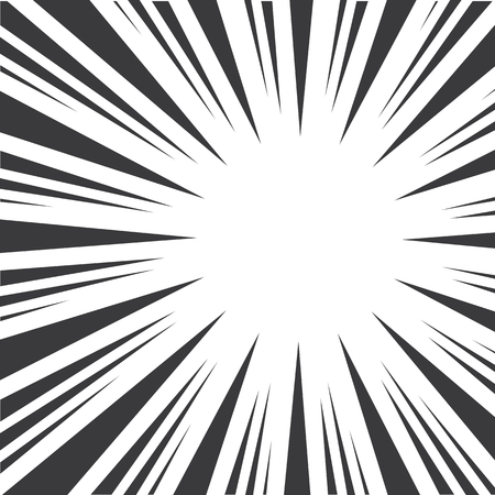 Black and white pop art abstract background with sunbeams. Vector illustration Ilustrace