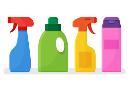 Détergents chimiques. Ensemble d'agent de nettoyage de bouteilles colorées. Illustration vectorielle
