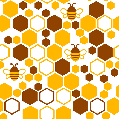 Geometric seamless pattern with honeycomb and bee. Vector illustration