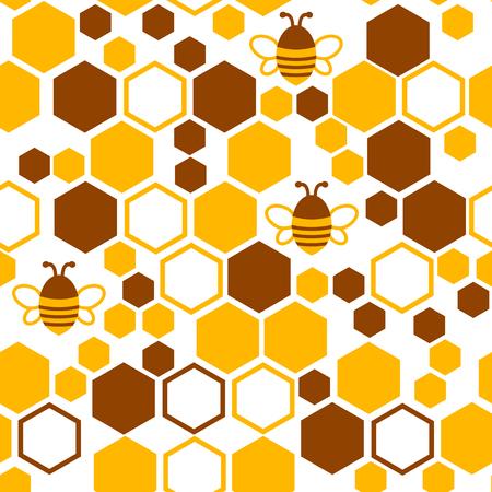 Patrón geométrico sin costuras con panal y abeja. Ilustración vectorial