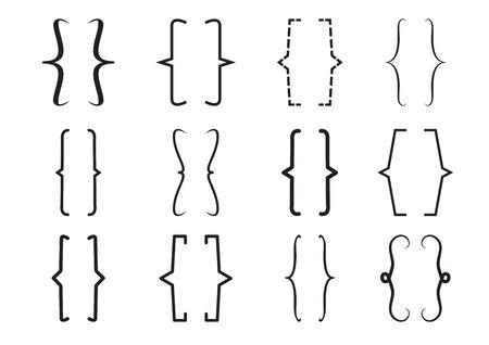 Set di staffe nere. Illustrazione vettoriale Vettoriali