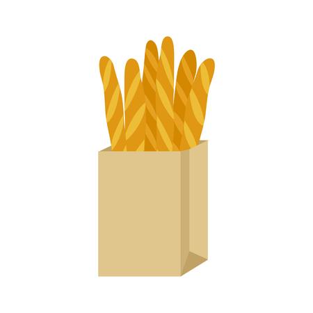 Baguette bread in paper package. Vector illustration Banque d'images - 124153808