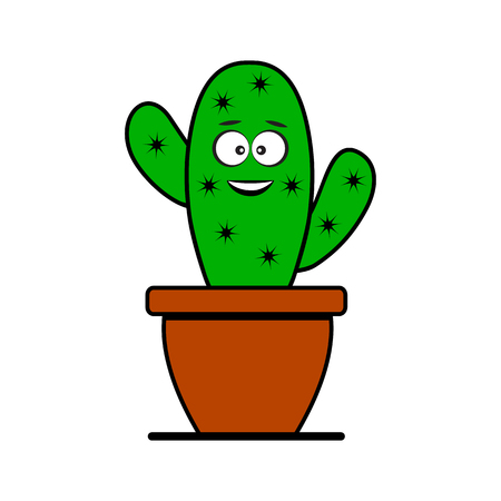 Funny emoticon cactus in pot. Stylized character. Vector illustration
