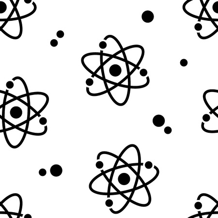 Seamless pattern with black atom signs on white background. Vector illustration Banque d'images - 124153814