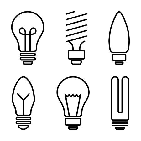 Set of light bulb icons, different lamp, line art. Vector illustration