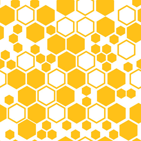 Geometric seamless pattern with yellow honeycomb. Vector illustration  イラスト・ベクター素材