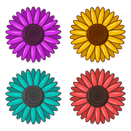 Set of colorful flowers. Vector illustration