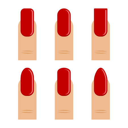 Manicure. Set of finger with red nail polish, different shapes nail, types fashion. Vector illustration