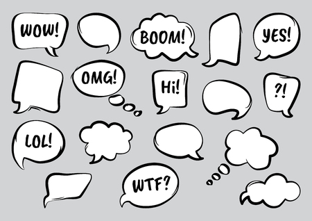 Set of comic speech bubbles with diffrent words, hand drawn. Vector illustration Illustration