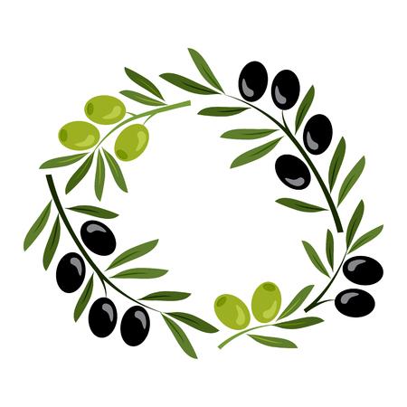 Frame with black and green olives. Vector illustration Banque d'images - 123982932