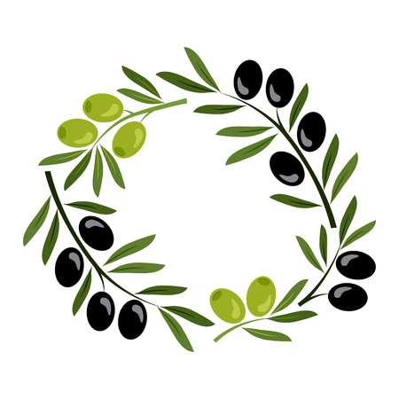 Frame with black and green olives. Vector illustration