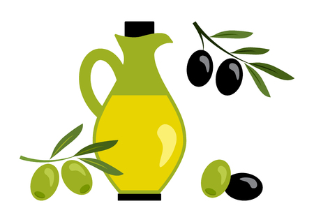 Olive oil with black and green olives. Vector illustration