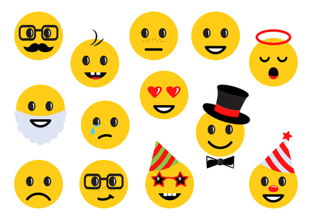 Yellow smileys, set of different emoticon icons. Vector illustration