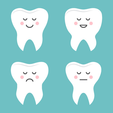 Set of teeth with different emotions. Stylized character. Vector illustration