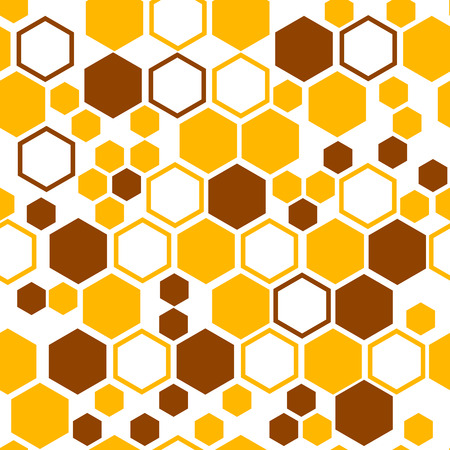Geometric seamless pattern with yellow and brown honeycomb. Vector illustration