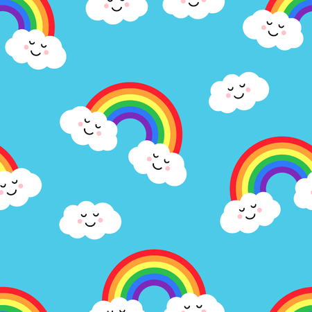 Seamless pattern with rainbow and clouds on blue background. Vector illustration