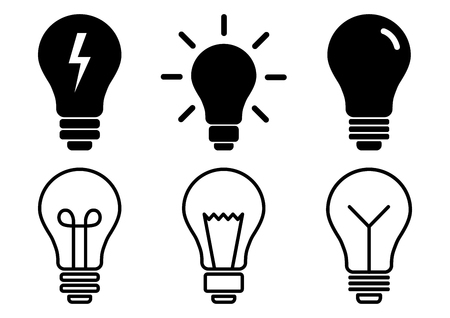 Set of light bulb icons, different lamp. Flat and outline design. Vector illustration
