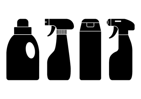 Chemical detergents. Set of bottles cleaning agent, black silhouettes. Vector illustration Illustration