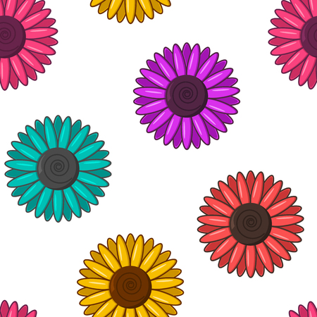 Seamless pattern with colorful flowers isolated on white background. Vector illustration Illustration