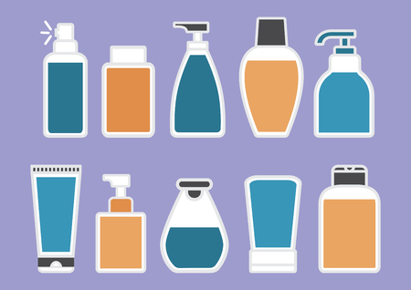 Body care. Set of cosmetic and medical bottle with colorful liquid on purple background. Vector illustration Banque d'images - 123963660