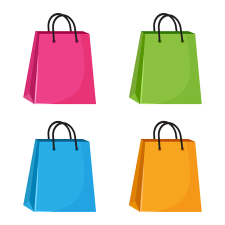 Set of colorful shopping paper bags. Vector illustration Banque d'images - 123720761