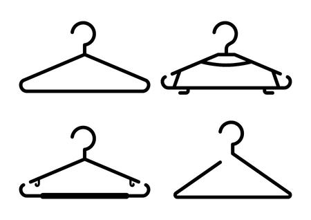 Black set of hanger icons, outline design. Vector illustration Banque d'images - 123720762