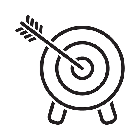 Target icon. Arrow hitting a target, line art. Business concept. Vector illustration Illustration