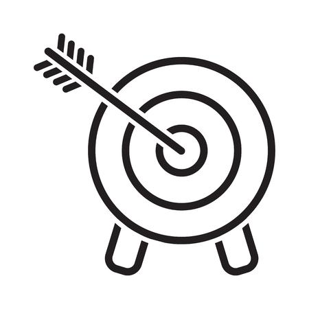 Target icon. Arrow hitting a target, line art. Business concept. Vector illustration Banque d'images - 123720763