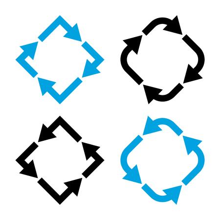 Set of different arrows, black and blue colors. Vector illustration Banque d'images - 123627808