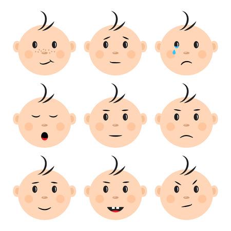 Zestaw twarzy dziecka z różnymi emocjami. Ilustracja wektorowa