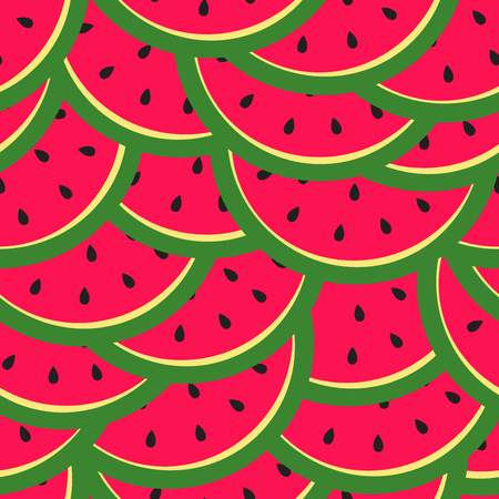 Bright seamless pattern with slices watermelon. Vector illustration