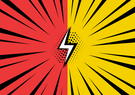 Red and yellow background in pop art style. Vector illustration