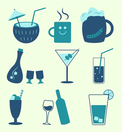 Soft drinks and alcohol beverages types, vector set
