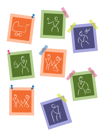 White silhouette people pictures on color background, vector set