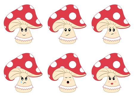 Colored mushrooms vector set. Amanita with emotions Çizim