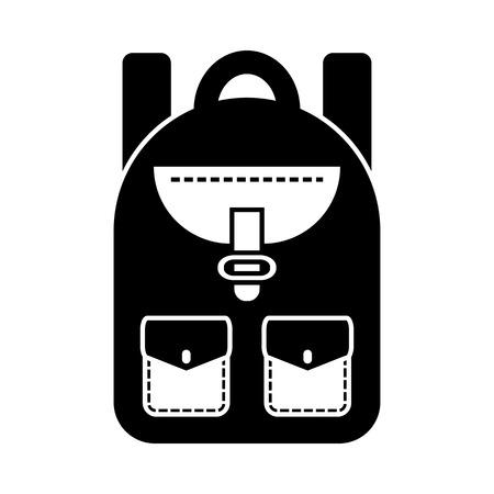 Black and white backpack, vector illustration
