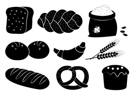 Ensemble de boulangerie noir et blanc, illustration vectorielle