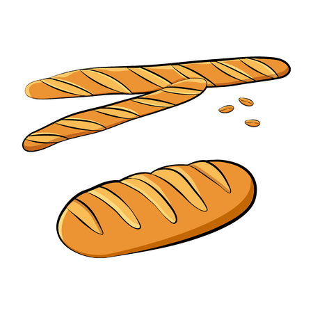 Baguettes, loaf and wheat grains. Vector illustration