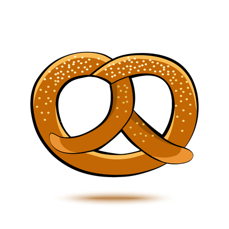 Colored pretzel with shadow. Vector illustration