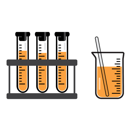 Chemical vessels and flasks with an orange liquid. Vector illustration