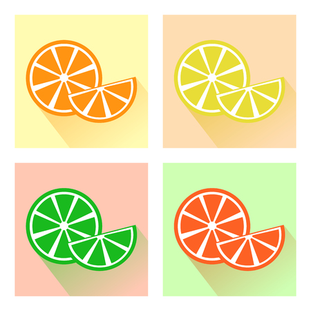 Set of fruits, colorful citrus icons. Vector illustration