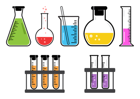 Colorful set chemical vessels. Vector illustration Ilustrace