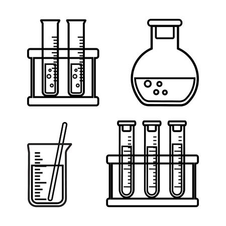 Set of chemical vessels and flasks with liquid, outline design. Vector illustration