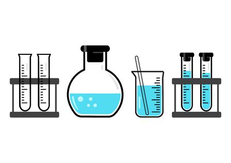 Chemical vessels and flasks with blue liquid. Vector illustration