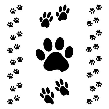 Pista de pata de animal negro. Efecto isométrico. Ilustración vectorial