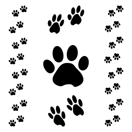 Schwarze Tierpfotenspur. Isometrischer Effekt. Vektor-Illustration