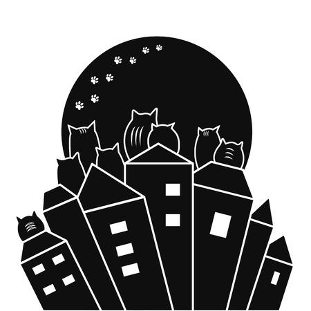 Black cats on rooftops with moon background, vector illustration Ilustração