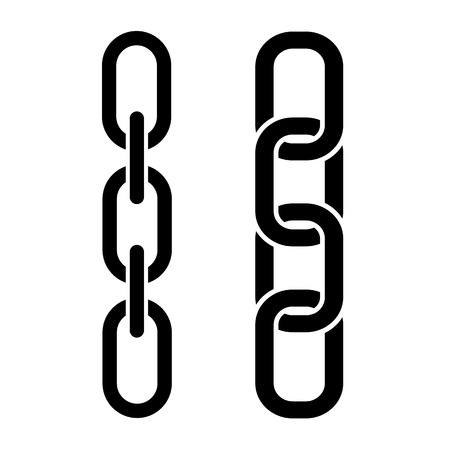 Set of metal chain, black icons. Vector illustration Illustration